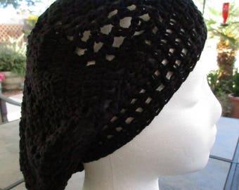 Black Beret style Crochet Beannie