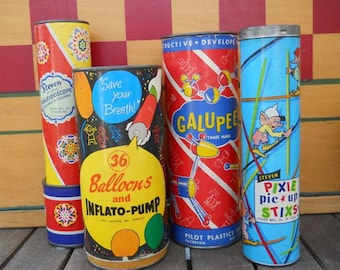 Vintage Games and Toys - Pixie Stixs, Kaleidoscope, Balloon Inflato-Pump and Galupee's