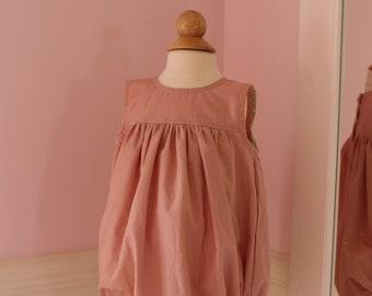 Baby Romper Broadcloth Pink 12-18M