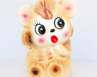 Planter - Kitschy Bear, Mid Century Flower Pot, 1950s Japanese Ceramic Teddy, Vintage Nursery Decor, Kitsch Pencil Holder