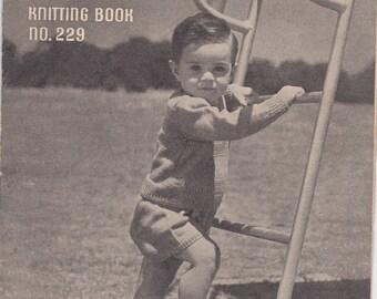 ON SALE Paton's  Knitting Pattern No 229 For Children Babies  (Vintage 1940s) Original Pattern, Cardigan, Jumper, Sweater, Dress, Kicking ba