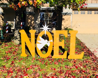Noel Gold Glitter Christmas Sign with Trumpeting Angel Engraved Yard Art Sign Large
