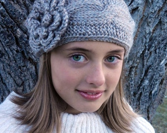 Tunisian Crochet Cable Headband Pattern with Flower - Tunisian Crochet Headband Earwarmer Pattern with Flower - Instant Download