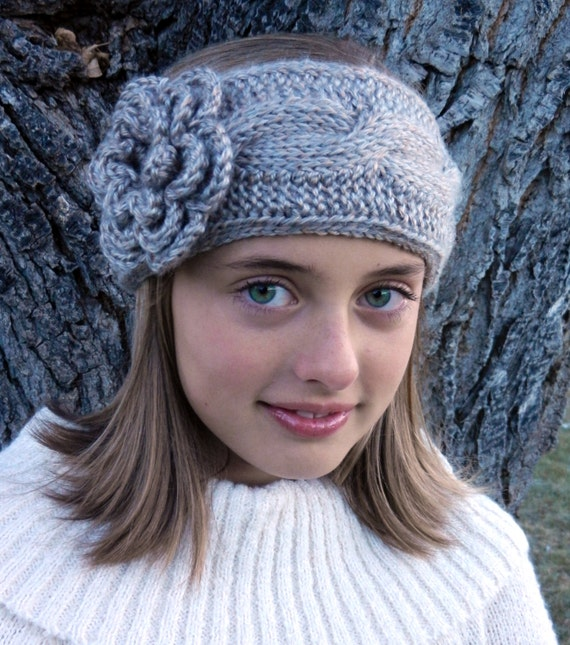 Tunisian Crochet Cable Headband Pattern With Flower Tunisian