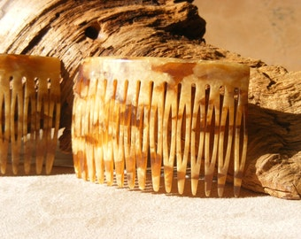 Hair Combs and Chignon Pins set, French, Gold, Vintage 70's, Dead Stock