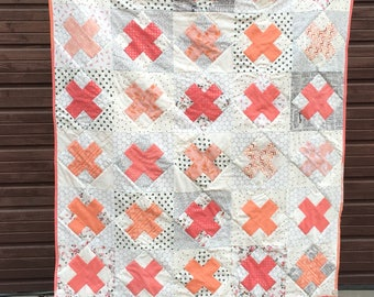Coral and Peach Kiss Quilt