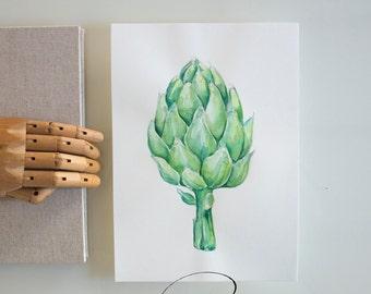 Original artichoke watercolor art painting, artichoke drawing, vegetable art, kitchen wall art, modern vegetable watercolor, gift for her
