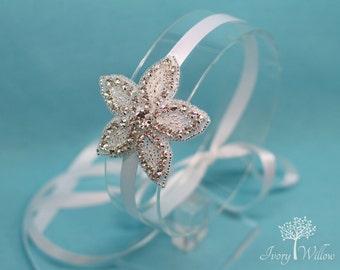 Flower Girl Headpiece - Beaded Flower Headband - Bridal Headband - Wedding Accessory - Headpiece - Bridesmaid - Prom - Beaded Rhinestone