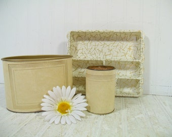 Desk Set Ivory Leatherette with Gold Tooling Trim 3 Piece Desk Set Retro Mail Bin, Pencil Cup & Drawer Organizer Library Office Accessories