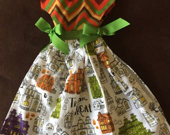 Halloween stripe oven dish towel dress