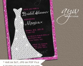 Wedding Dress Bridal Shower Invitation Printable Bridal Shower Invitations Wedding Shower Invitations Elegant Diamond Dress with Bling