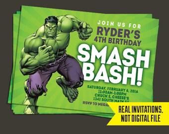 Hulk Invitation   Hulk Birthday Invitation