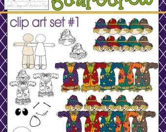 Build a Scarecrow Clip Art Set #1