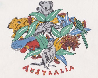 80's Australiana! Origional artwork by Viva La Wombat 1982