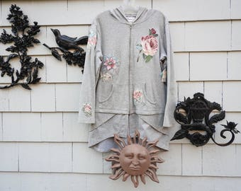 Hoodie (Grey Zip-Up) with Applique Vintage Fabric Flowers (Up-Cycled)