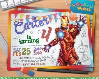 Iron man invitations etsy filmwisefo