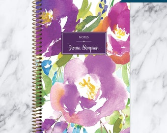 NOTEBOOK personalized journal | lined notebook | personalized gift | stocking stuffer | spiral bound | violet watercolor floral