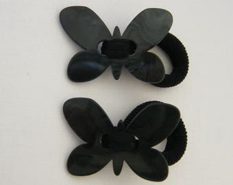1 elastic hair tie (ash gray chocolate blue plum) mother-of-Pearl girl