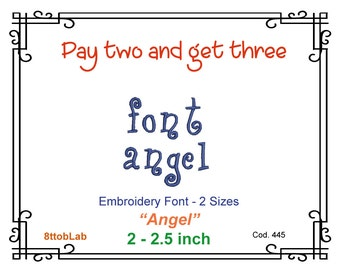 2 - 2,5 inch Embroidery angel Font