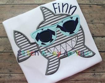 Summer Sunglasses Shark Machine Applique Design