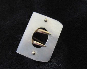 Antique Vintage Buckle Pin Brooch Mother of Pearl Brass