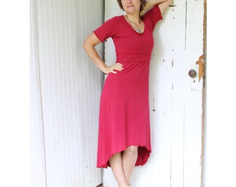 Sabra Short Sleeve Dress - Organic Cotton Blend - Made to Order - Many Colors Available - Eco Fashion - Boho Chic