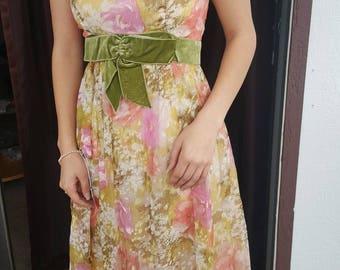 1960s Green Floral Dress, 1960s Floral Dress, 1960s Dress, Pink Floral Dress, Vintage Clothing, Sleeveless Dress, Spring Dress, Floral Dress