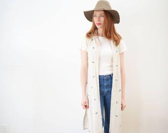 90s Vintage Dress and/or Long Vest - Creme, Print, Jessica, Boho, Festival, Flax, Rayon