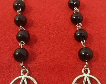 Black Glass Pentacle Earrings