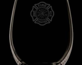 13 Ounce Fire Department Personalized Stemless Wine Glass