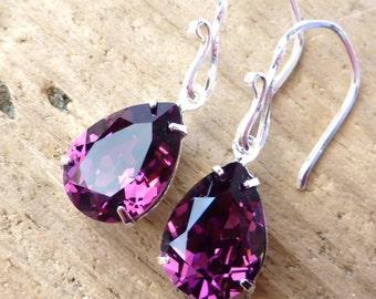 Amethyst Swarovski Crystal Earrings, Purple Rhinestone Earrings, Purple Teardrop Earrings, Sterling Silver, February Birthstone, Gift
