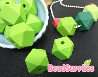 BE-WO-01003 - Geometric wood beads,Grass green 10 pcs