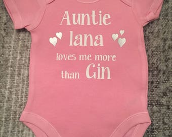 Baby gift for aunt etsy personalised baby grow bodysuit my aunt loves me more than gin personalised funny baby gift negle Choice Image