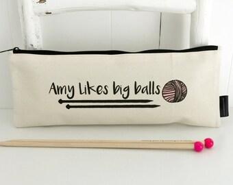 Personalised Big Balls | Knitting Needle Bag | Knitting Needle Storage | Funny Knitting Bag | Personalised Knitting Bag | Knitting Gift
