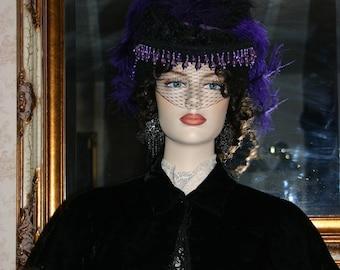 Gothic Hat  Victorian Hat Steampunk Hat Wedding Hat Black Women's Purple Hat  - Lady Gothica