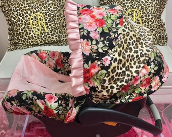Rosey Posy Car Seat Cover, Blush Infant Car Seat Cover, Leopard Slipcover for Infant Seat, Girl Baby Car Seat Cover, Shell Car Seat Cover