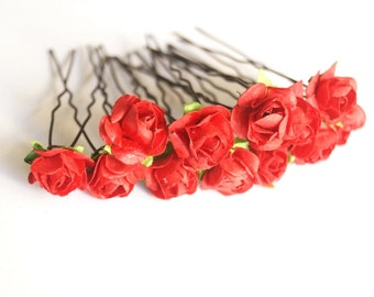 Bridal Hair Accessories, RED flower Hair Bobby Pin, Brass Bobby pin- set 12