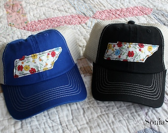 Tennessee State Love Hat - Tennessee Baseball Cap - Tennessee Hat - Tennessee Volunteers Hat - Tennessee Proud - State Hat - floral