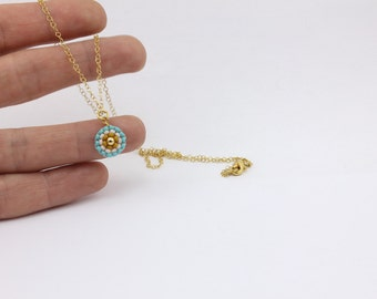 Tiny Pendant Layering Necklace, Brick Stitched Seed Bead Necklace by Detail London.