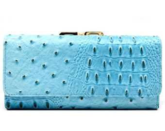Animal Skin Textured Tri-Fold Kiss Lock Combo Wallet - Blue