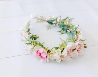 forest bridal wedding flower crown // FLEUR REINE / bohemian floral headpiece flower crown