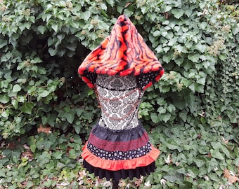 Red Tiger Stripe Spirit Hood with matching Skirt and tail, faux fur hoodie furry hood matching set ruffle skirt