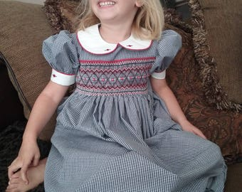 Size 4 Hand Smocked Black Gingham Dress
