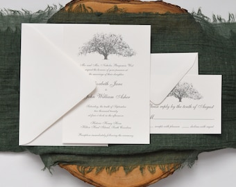 Live Oak Tree Wedding Invitation - Wedding Oak - Candler Oak - Savannah, GA - Southern Bride - Southern Charm - Elegant Wedding Suite