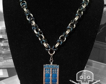 Doctor Who- Inspired TARDIS/Police Box Chainmail Necklace