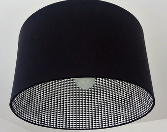 Cylindrical Lampshade 2 faces made of fabric and black and white geometric pattern for hanging or lamp base