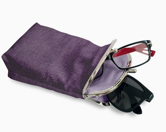 Eyeglasses Case Double Pockets, Sunglasses / Reading Case, Purple Upholstery fabric, Silver Frame