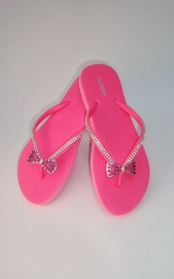 2db68cee43ea Pink Flip Flops Rhinestone Flip Flops Bridesmaid Sandals