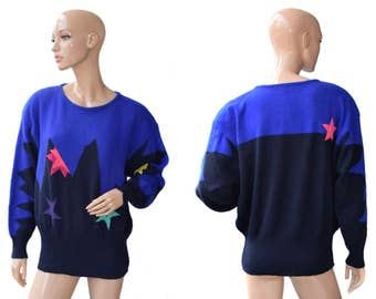 Vintage Yarell ® women sweater blue and black lambswool and angora