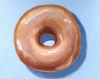 Original oil painting of glazed doughnut. Oil on board (6x8). Unframed.